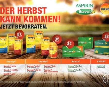 Herbstaktionen Aspirin – Berocca - Supradyn