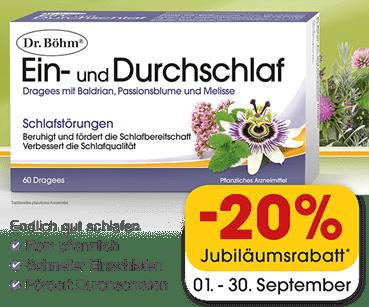 Rabatt von -20% auf Dr. Böhm Ein- und Durchschlafdragees